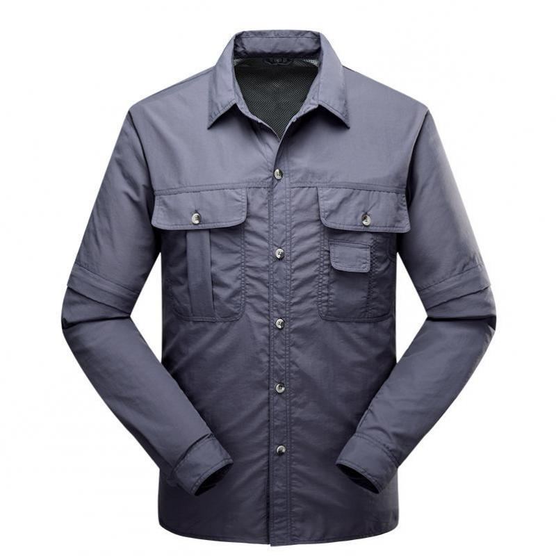 New Quick Drying Outdoor Men Tactical Shirts Breathable Removable Clothes Camisa Pesca Sports Fishing Trekking Hiking Clothing