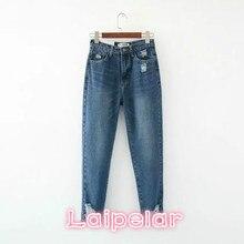 2018 Summer New women denim pants blue hig waisted jeans  fashion casual streetwear boyfriend for Laipelar