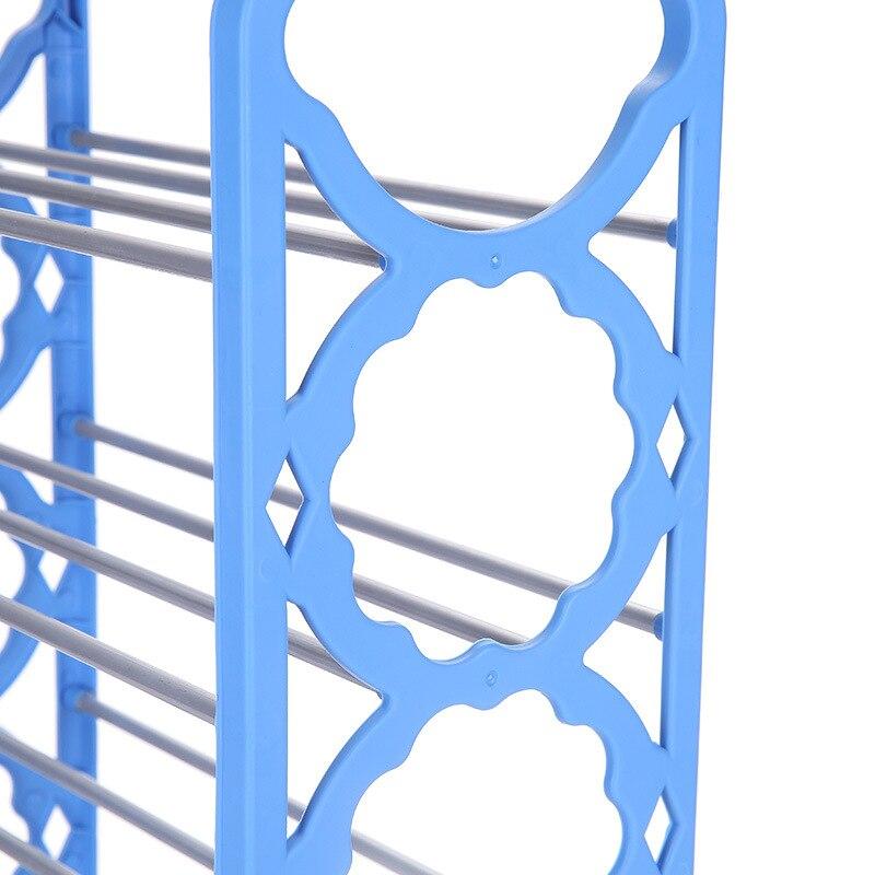 DIY Vier Lagen Iron Eenvoudige Schoenenrek multifunctionele Schoenenkast Boeken Plank Speelgoed Planten Opslag Plank Eenvoudige Plastic schoen Hanger