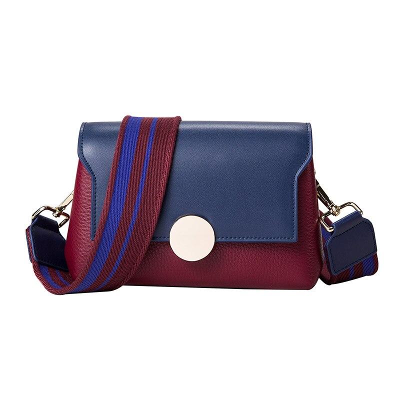 Fashion Bolso Mujer Genuine Leather Women Messenger Bag Wide Straps Shoulder Bag Contrast Color Ladies Crossbody