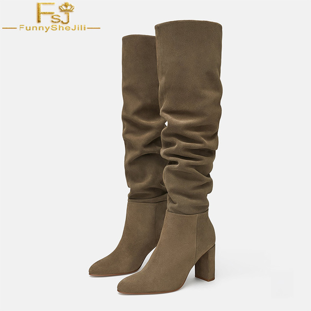 849bf87b5e8 FSJ Fashion Taupe Pleated Winter Warm Womens High Heels Pointed Toe Knee  High Boots Pointed Toe Casual Shoes Woman Size 4-16