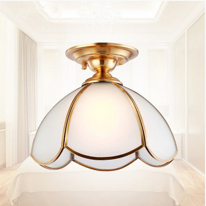 ФОТО European copper white frosted glass Ceiling lights Handwork soldering E27 LED lamp for cafe&porch&pavilion&stairs&bar BRSXDD005