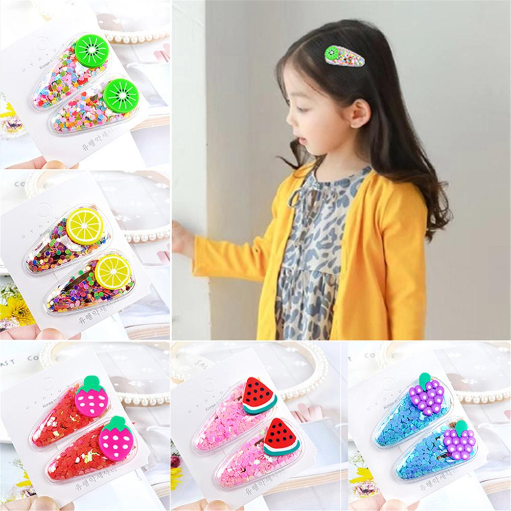 New 2pcs/pair Kawaii Fruit Hair Clips Kid Girls Sequin Hairpins BB Clip Children Accessories Transparent Barrettes
