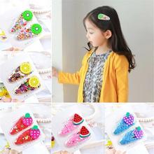 New 2pcs/pair Kawaii Fruit Hair Clips Kid Girls Sequin Hairpins BB Clip Children Accessories Transparent Barrettes