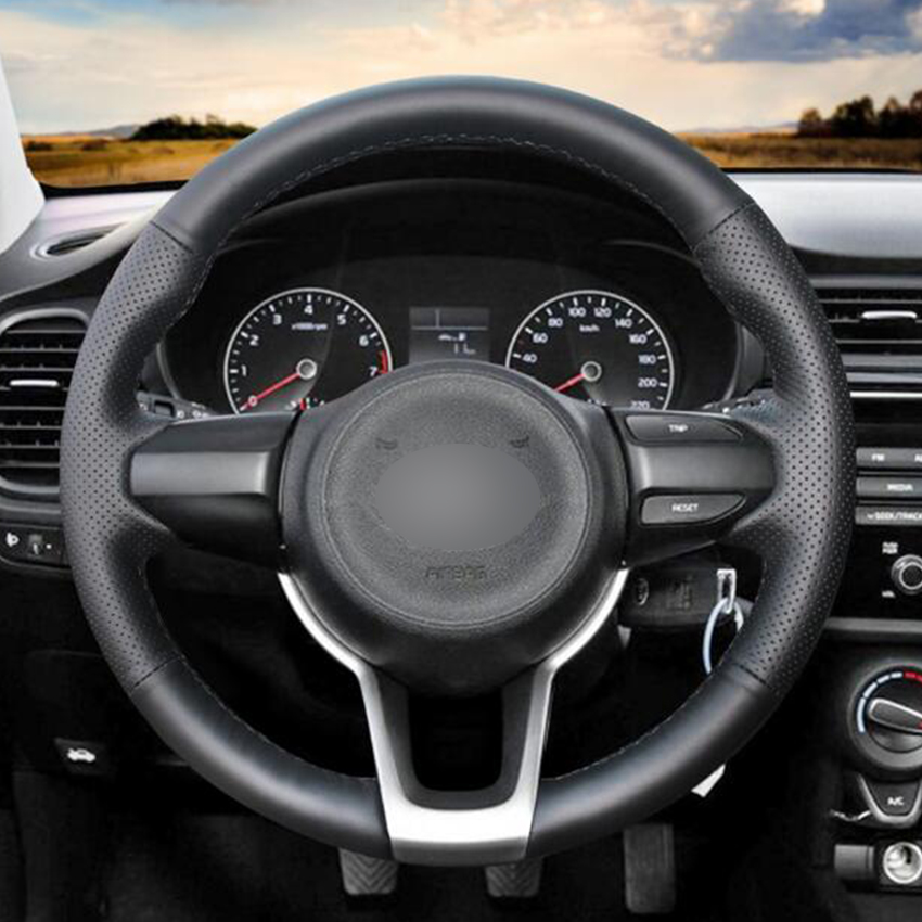 US $45 41 9% OFF Black Natural Leather Car Steering Wheel Cover for Kia Rio  2017 2019 Rio5 2019 K2 2017 2019 Picanto 2017 2019 Morning 2017 2019-in