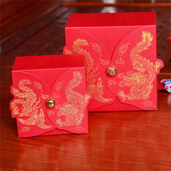 Chinese Style Wedding Candy Box Gift Bag Dragon and Phoenix Printing Candy Box Sweet Chocolate Wedding Favor Boxes