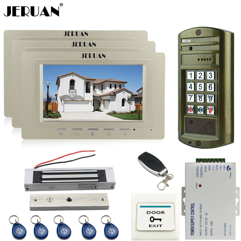 JERUAN 7 inch Video Doorbell Door Phone Intercom System kit 3 Monitor + Metal Waterproof Access Password HD Mini Camera 1V3 jeruan wired 7 inch video doorbell intercom door phone system kit new metal waterproof access password keypad hd mini camera 1v3