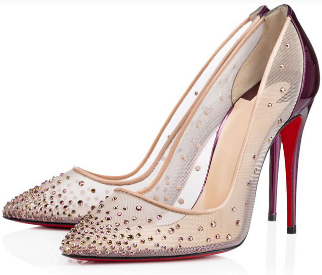 87acf4e3a97 Stunning mesh vamp women pumps rhinestone high heels wedding shoes purple  crystals stiletto heels bridal shoes