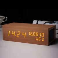Multifunctional Wooden LED Screen Alarm Clock Portable Stereo Subwoofer Bluetooth Speaker Creative Home Gadgets