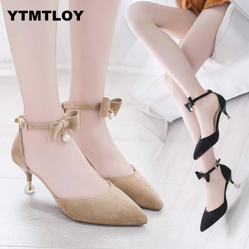 Women Pumps Female Kitten Heel Sweet Slip On Pointed Toe Shoes Thin High Heels Ladies Casual Spring Shoes  Butterfly-knot