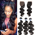 8A Brazilian Virgin Hair With Closure Brazilian Body Wave 3 Bundles With Closure Unprocessed Human Hair Extensions With Closure