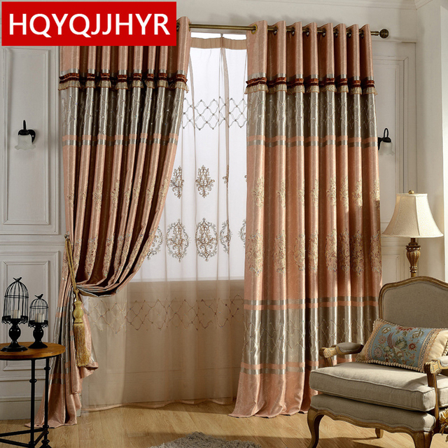 European Luxury Embroidered Floor Length Curtains Full Blackout Curtains  Plane For Living Room Window Curtain