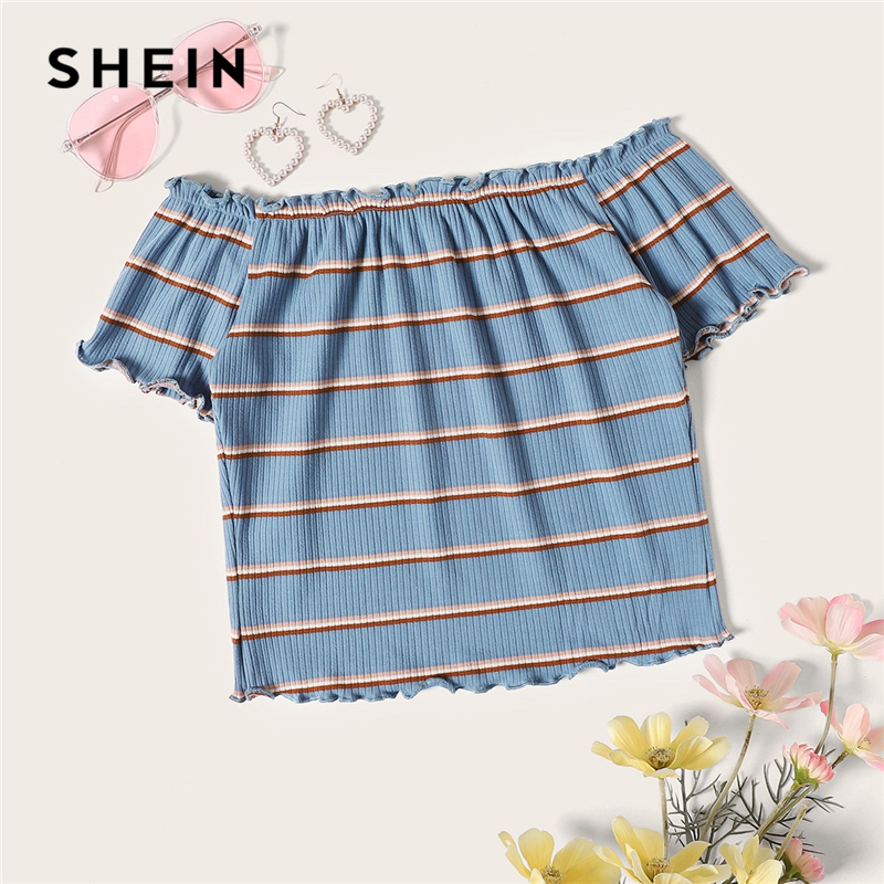 SHEIN Lettuce Trim Rib-Knit Striped Crop Bardot Tee Blue Women Off The Shoulder Slim Fit Tops Summer Short Sleeve Tshirt