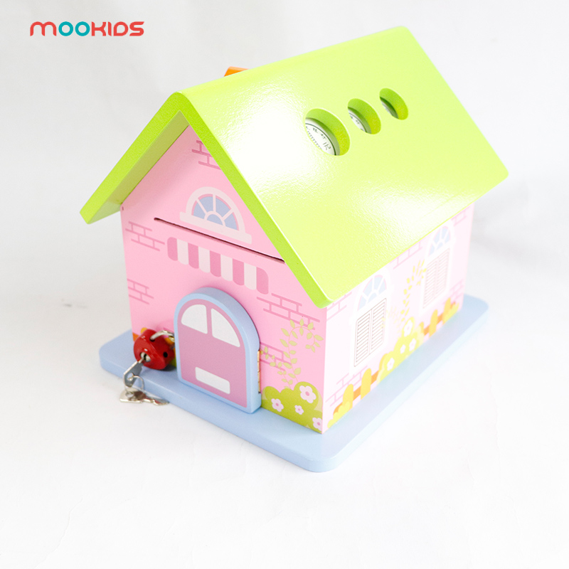 Piggy Bank Wood Chalet Coin Garden/Police Station House Room Money Bank Saving Money Gift For Kids Parent-child Interaction