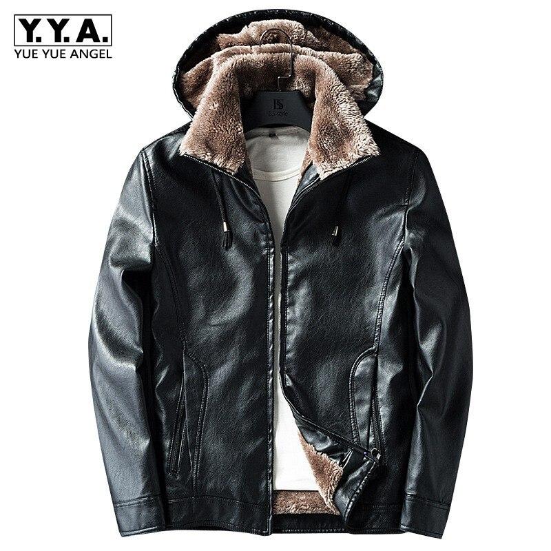 New Male PU Leather Jacket Fleece Lining Punk Stand Collar Jacket Men Hooded Zipper Male Coats Slim Fit Motorcycle Outwear