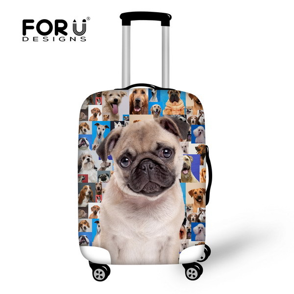 Brand Original Pug Dog Face Luggage Protective Dust Cover Waterproof Luggage Covers For 18-30 Inch Suicase Elastic Luggage Cover