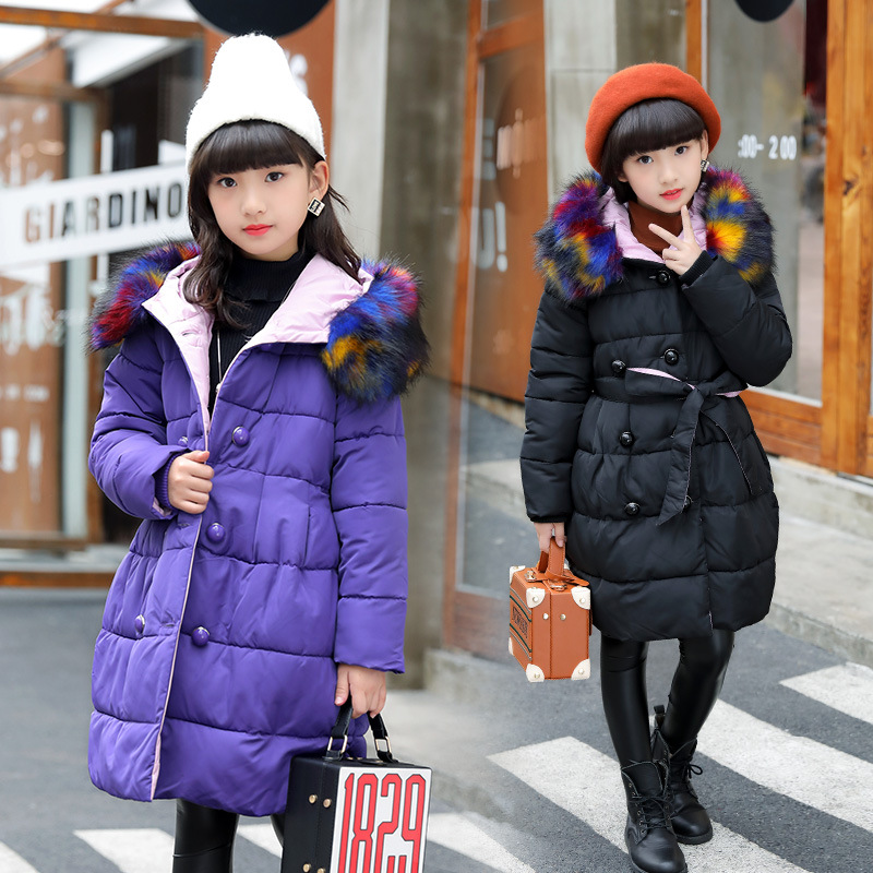 цена 2018 Winter Bigs Girls Down Cotton Coats Children Hooded Jackets Parkas Kids Thick Warm Outerwears Teenage Girls Overcoats P85