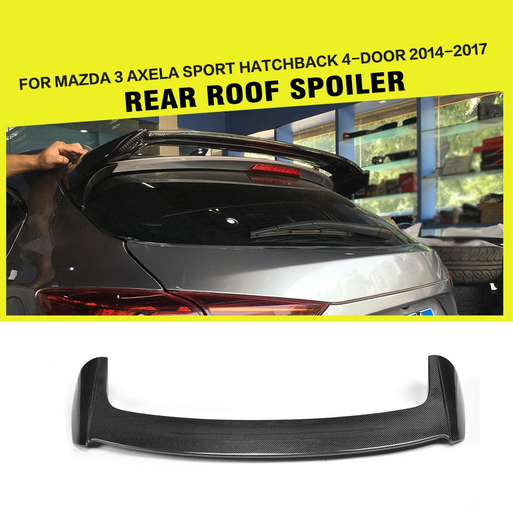 Aileron de fenêtre arrière en Fiber de carbone pour Mazda 3 Axela Sport hayon 4 portes 2014-2017 FRP