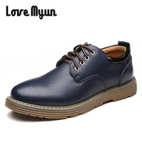 2017 Brand New Spring Mens Genuine Leather Shoes Oxfords Fashion Casual Shoes Men Lace Up Leather