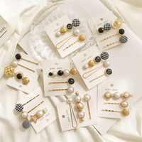 1 SET Metallo Minimalista Accessori Per Capelli Geometrica Irregolare Oro Clip di Capelli di Colore Imitiation Pearl Hairpin Barrettes Hairgrip