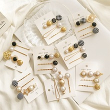 1SET Metal Minimalist Hair Accessories Geometric Irregular Gold Color Clip Imitiation Pearl Hairpin Barrettes Hairgrip