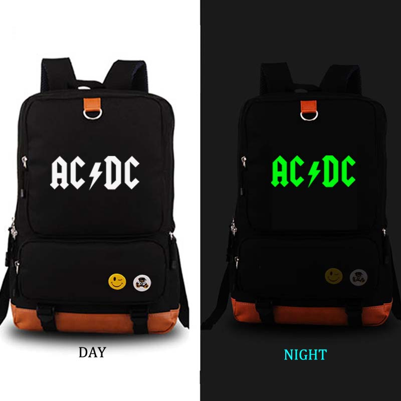 AC DC noctilucous school bag Game backpack student school bag Daily backpack men women Rucksack Notebook backpack