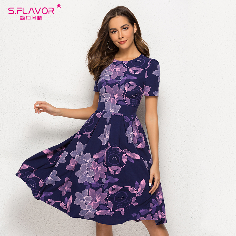 S.FLAVOR Vintage Floral Print Party Vestidos Women Elegant Short Sleeve O Neck A Line Casual Dress Slim Retro Women Chic Dress