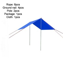 Outdoor mountaineering tents, pergola emergency shelters. Waterproof canopy camping picnic cloth support pole windproof rope