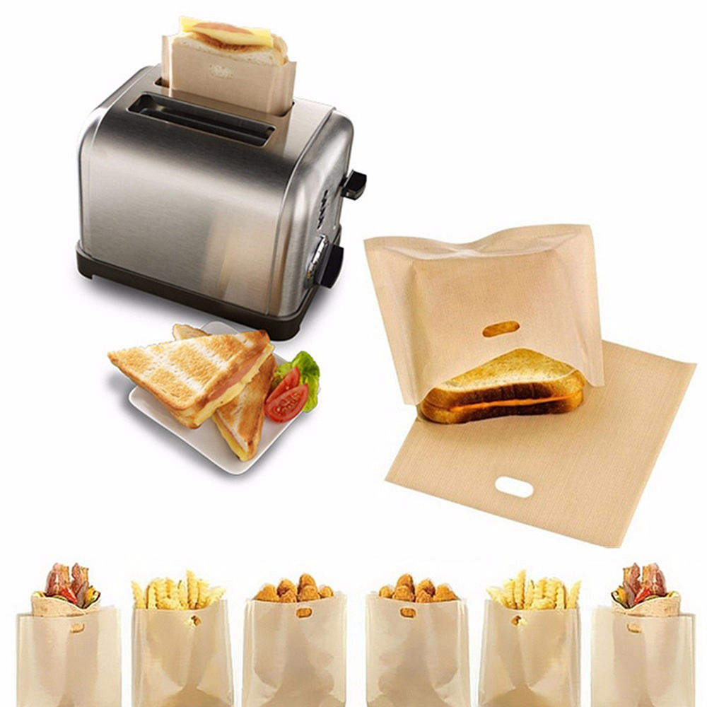 1/2/5pcs Toaster Bags for Grilled Cheese Sandwiches Made Easy Reusable Non-stick Baked Toast Bread Bags Sandwiches Heating Bag image