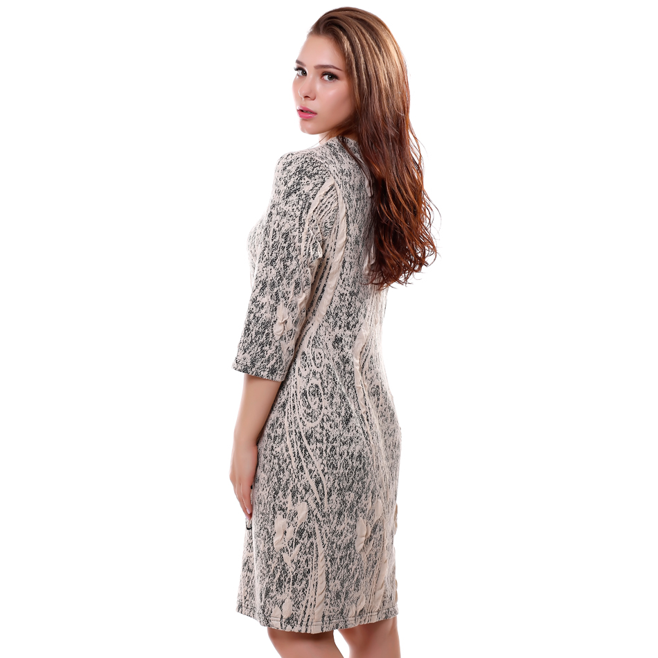 8521554bf2cb Bfdadi 2016 novità autunno inverno casual dress jacquard tessuti fiori di  stampa delle donne elegante abbigliamento da lavoro abiti plus size 7 2171  in ...