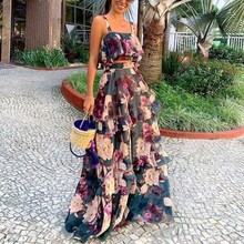 Fashion 2019 Sexy Women Boho Two Piece Set Crop Top Long Skirt Floral Printed Sets Cascading Ruffle Casual Outfits цена