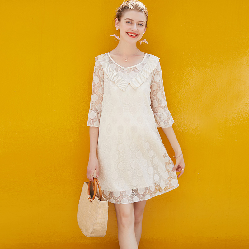 American Hot Sale 2018 Summer Pregnant Women Sexy Transparent Lace Dress 2Piece Set Maternity Casual Loose Solid Dress Clothes