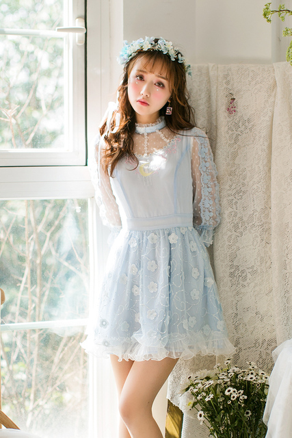 855a662f5d25 Princess sweet lolita dress Candy rain Spring and summer new Japanese sweet  neck five sleeve lace dress C22AB7037