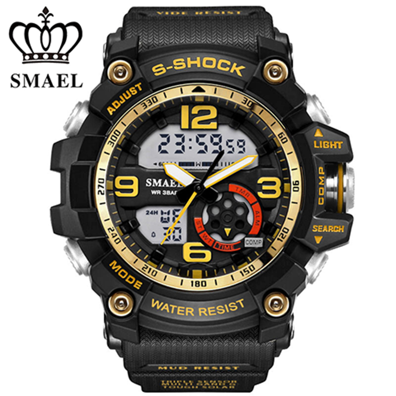 TOP SALE 2017 smael New Watch Men s Dual Display Watch Military Watches Sports Quartz Wristwatches
