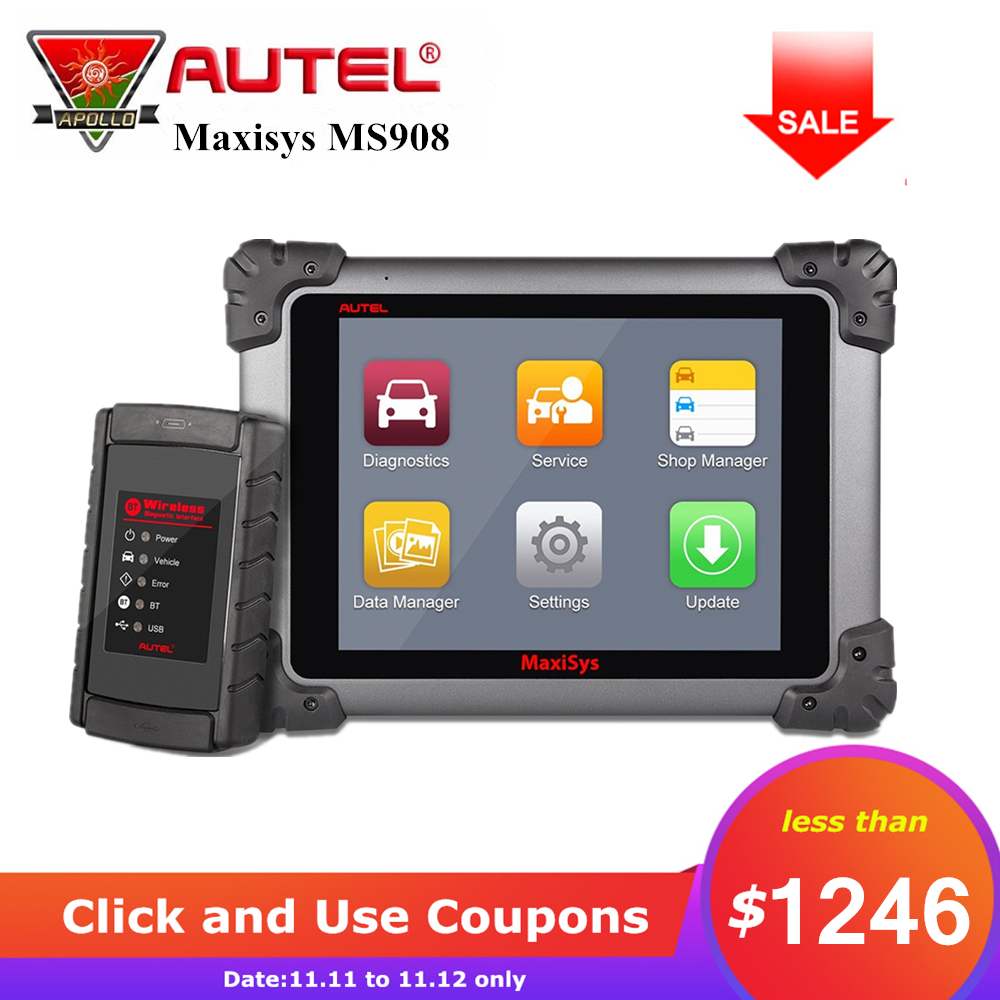 Autel Maxisys MS908 Auto Car Diagnostic Tool ECU Coding Automotive Scanner Wireless Wifi Autoscanner Fast Diagnosis pk MS908P autel maxisys elite car diagnosis j2534 ecu programing tool faster than ms908p 908 pro free update 2 years on autel website