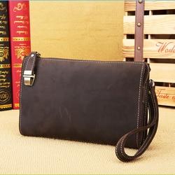 Fatti a mano del cuoio genuino documento gestore cerniera sacchetto del documento del sacchetto con la maniglia per gli uomini degli uomini di borsa cartella per i documenti
