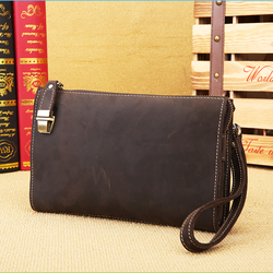 handmade genuine leather document zipper manager bag document bag with handle for men men's bag briefcase for documents