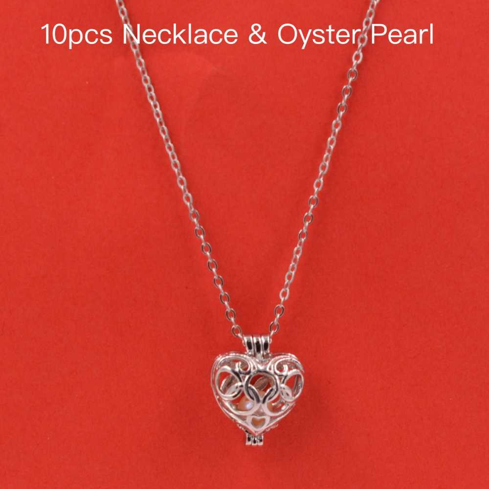 2018 Trendy fashion 10pcs Pearl Bead Cage Pendant Necklace Heart Fun Gift akoya oyster Fashion Jewelry For Women Jewelry HOT