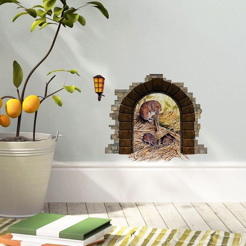 Roztomilé myši jíst v myši díra samolepky na zeď domácí výzdoba dětský pokoj samolepky na zeď vinyl vyměnitelná nástěnná malba