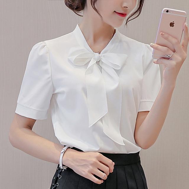 2018 Summer Women Short Sleeve Blouse Temperament Ladies Chiffon Blouses bow-knot Solid Colours Ladies Tops Clothing Plus Size