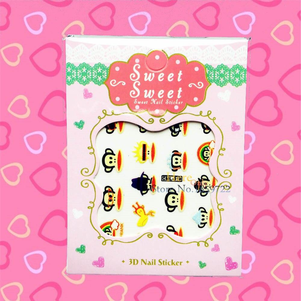 1PC Japanese Harajuku Nail Stickers Cartoon Monkey Design 3D Nail Decals Decoration HCML 018 3D Nail