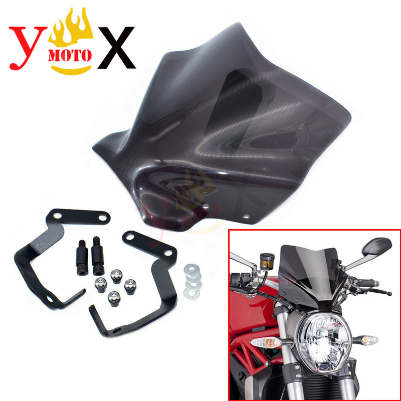 Naked Bike Smoke Windshield Windscreen Deflector W Bracket Support Mounting Screws For DUCATI MONSTER 821 1200S