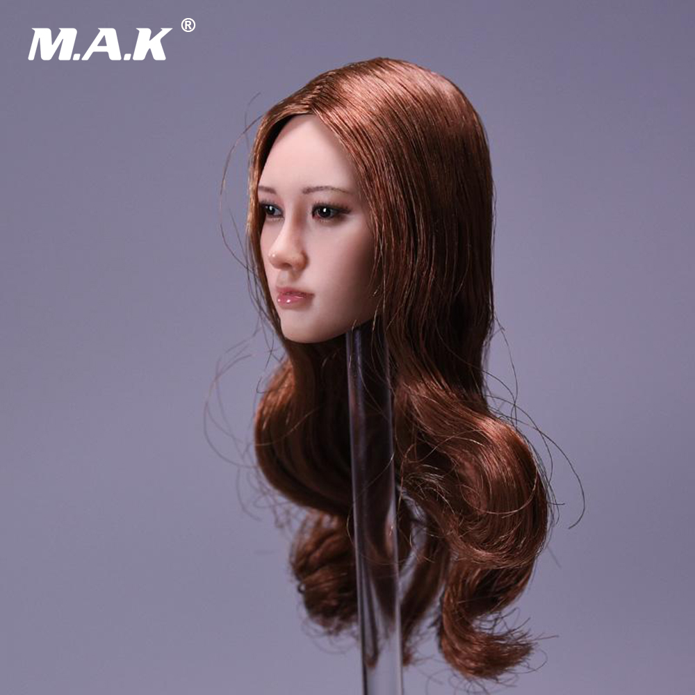 1/6 Female Head Sculpt with Curly Brown Long Hair for 12 inches Woman Action Figure Body