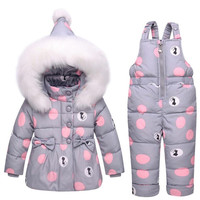Toddler Baby Down Clothes Sets for Girls Boys Warm Print Jacket+Pants Overalls Suit 2018 Winter New Kids Fashion Thicken Costume
