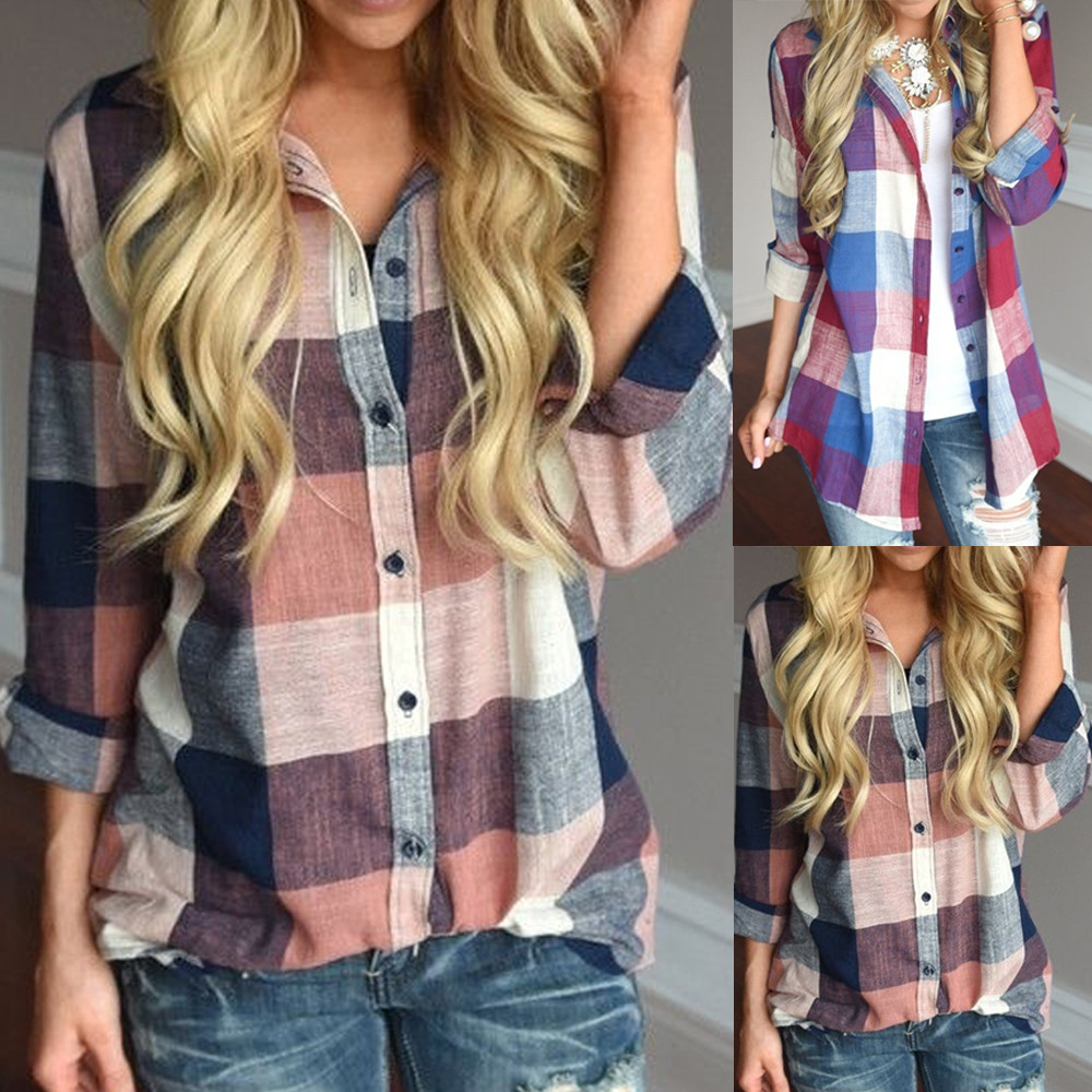 Fashion womens tops and blouses Female Casual Matching Color Long Sleeve Button Loose Plaid Shirt Top blusas mujer de moda 2018(China)