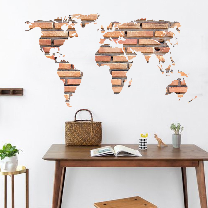 [Fundecor] brick world map wall stickers for kids rooms creative wallpaper kitchen bathroom home decor wall decals poster murals