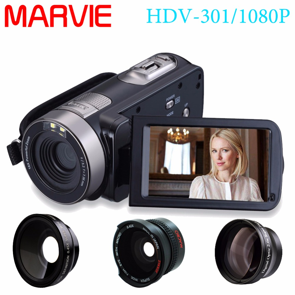 Marvie HDV-301 FHD 1080P Digital Video Camera Camcorder Night Vision Wide Angle Macro Fisheye Shooting 24MP 3 Inch Screen 1