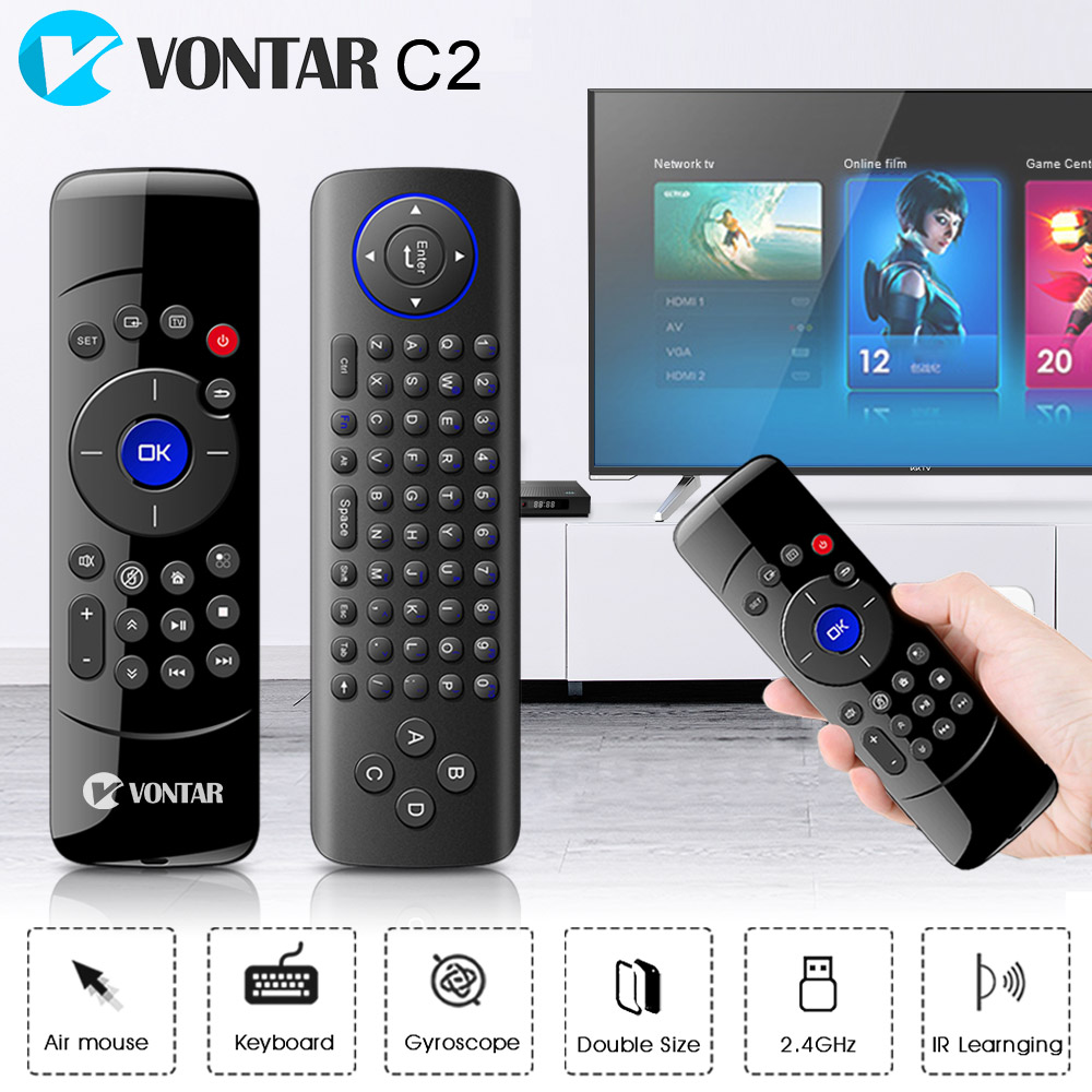 VONTAR 2.4GHz Fly Air Mouse Wireless Keyboard 3 AXIS Gyroscope Remote Control with IR Learning Function for Android TV Box PC h1 2 4ghz 6 axis fly air mouse wireless keyboard full touchpad remote control ir learning for smart tv android tv box laptop pc