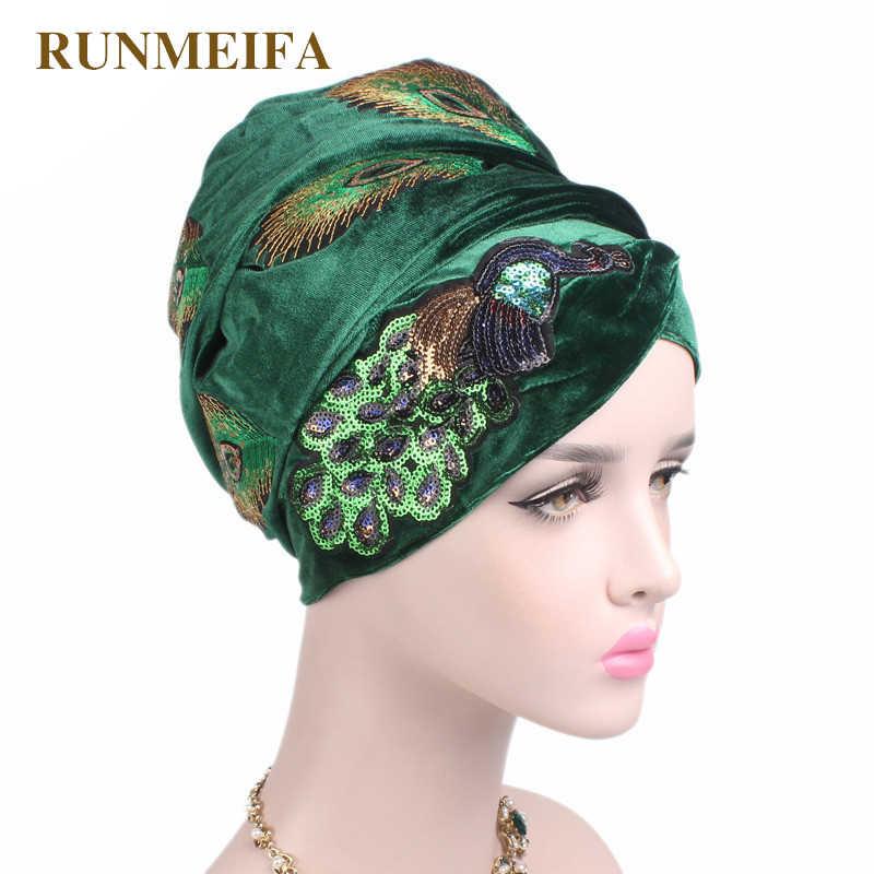 חדש עיצוב מוסלמי Skullies & בימס קטיפה צעיף כובע עבור גבירותיי יוקרה מותג ראש צעיף טווס רקמה אפריקאי לעטוף כובע
