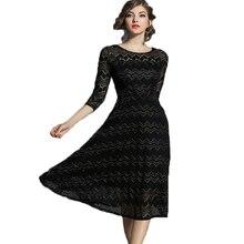 Robe Femme 2017 New Autumn Vintage Dress Women Silm O neck Three Quarter Collar Golden Silk